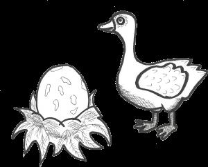 Die Ente Sabena findet ein gigantisches Ei mit gelben Sprenkeln.